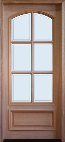 "8'0"" Tall Preston 6-Lite Square Top Low-E Mahogany Arched Prehung Wood Door Unit"