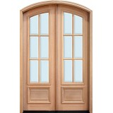 "8'0"" Tall Preston 6-Lite Low-E Mahogany Arch Top Prehung Double Wood Door Unit"