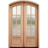 "8'0"" Tall Preston 6-Lite Flemish Mahogany Arch Top Prehung Double Wood Door Unit"