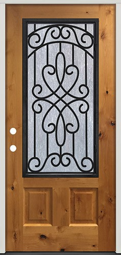 3/4 Iron External Grille Pre-stained Knotty Alder Prehung Wood Door Unit #62
