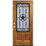 3/4 Iron External Grille Pre-stained Knotty Alder Prehung Wood Door Unit #75