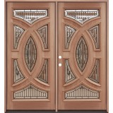 Baseball Mahogany Prehung Double Wood Door Unit