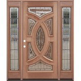 Baseball Mahogany Prehung Wood Door Unit with Sidelite