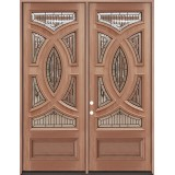 "8'0"" Tall Baseball Mahogany Prehung Double Wood Door Unit"