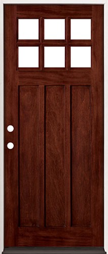 """32"""" Wide 6-Lite Craftsman Mahogany Prehung Wood Door Unit #43"""