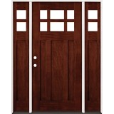 6-Lite Craftsman Mahogany Prehung Wood Door Unit with Sidelites #43