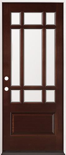 """32"""" Wide 9-Lite Craftsman Mahogany Prehung Wood Door Unit #32"""