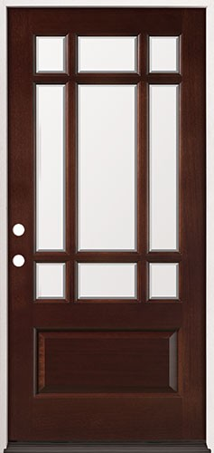 9-Lite Mahogany Prehung Wood Door Unit #32
