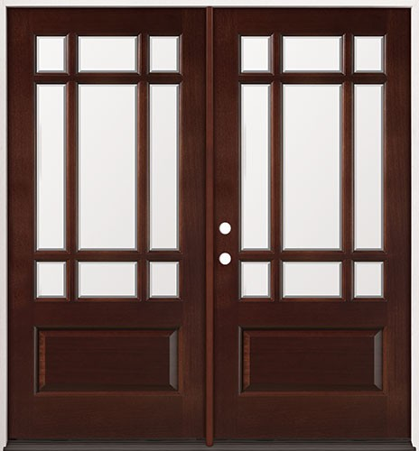 9-Lite Mahogany Prehung Double Wood Door Unit #32