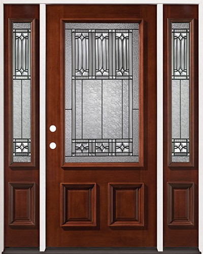 3/4 Lite Mahogany Prehung Wood Door Unit with Sidelites #53