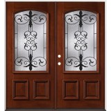 3/4 Arch Mahogany Prehung Double Wood Door Unit #54