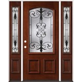 3/4 Arch Mahogany Prehung Wood Door Unit with Sidelites #54