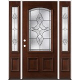 3/4 Arch Mahogany Prehung Wood Door Unit with Sidelites #74