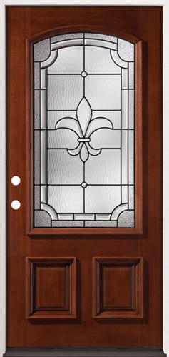 Fleur-De-Lis 3/4 Arch Mahogany Prehung Wood Door Unit #49 & Finer Doors | Fleur-De-Lis 3/4 Arch Mahogany Prehung Wood Door Unit #49