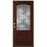 Texas Star 3/4 Arch Mahogany Prehung Wood Door Unit #50