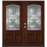 Texas Star 3/4 Arch Mahogany Prehung Double Wood Door Unit #50