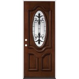 "32"" Wide 3/4 Oval Mahogany Prehung Wood Door Unit #51"