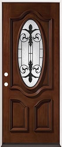 """32"""" Wide 3/4 Oval Mahogany Prehung Wood Door Unit #51"""