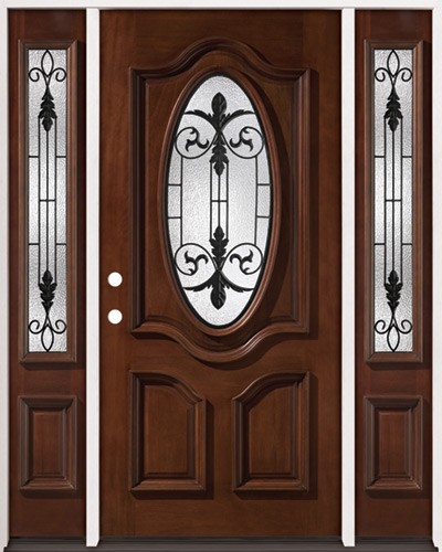 3/4 Oval Mahogany Prehung Wood Door Unit with Sidelites #51