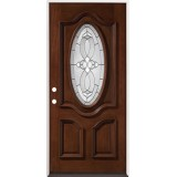 3/4 Oval Mahogany Prehung Wood Door Unit #86