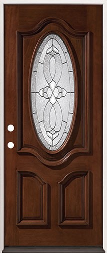 "32"" Wide 3/4 Oval Mahogany Prehung Wood Door Unit #86"