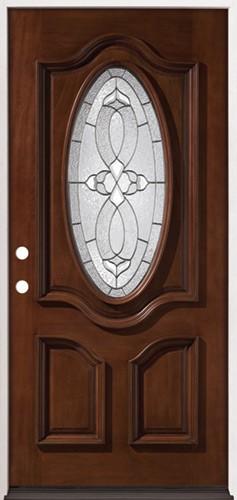3/4 Oval Mahogany Prehung Wood Door Unit #86
