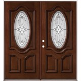 3/4 Oval Mahogany Prehung Double Wood Door Unit #86