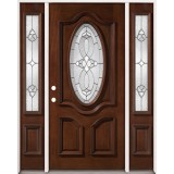 3/4 Oval Mahogany Prehung Wood Door Unit with Sidelites #86