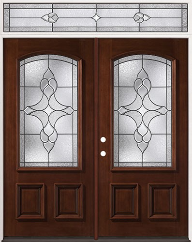 3/4 Arch Mahogany Prehung Wood Double Door Unit with Transom #74