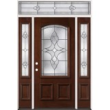 3/4 Arch Mahogany Prehung Wood Door Unit with Transom #74