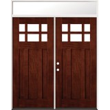 6-Lite Craftsman Mahogany Prehung Wood Double Door Unit with Transom #43