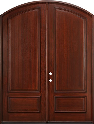 "8'0"" Tall Mahogany Arch Top Prehung Double Wood Door Unit"