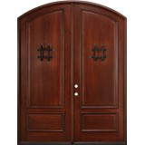 "8'0"" Tall Mahogany Arch Top Prehung Double Wood Door Unit with Speakeasy Grilles"