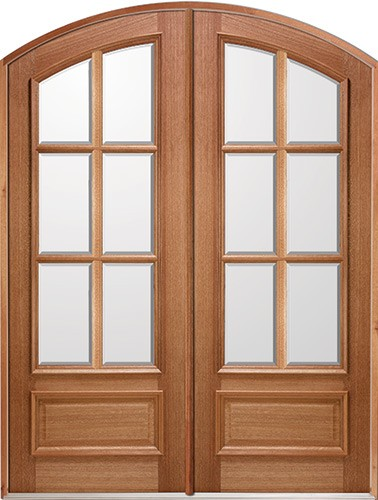 "8'0"" 6-Lite IG Mahogany Arch Top Prehung Double Wood Door Unit"