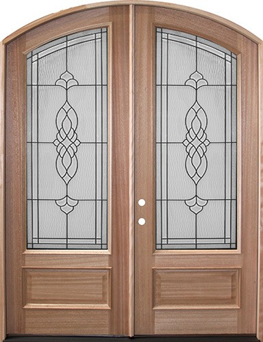 "8'0"" Oxford Mahogany Arch Top Prehung Double Wood Door Unit"