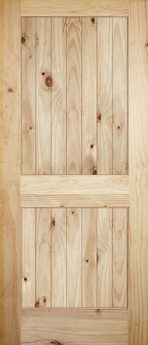 "7'0"" Tall x 36"" Wide 2-Panel V-Grooved Knotty Pine Barn Door Slab"