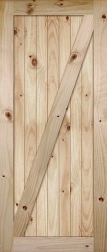 "7'0"" Tall x 36"" Wide Z-Bar V-Grooved Knotty Pine Barn Door Slab"